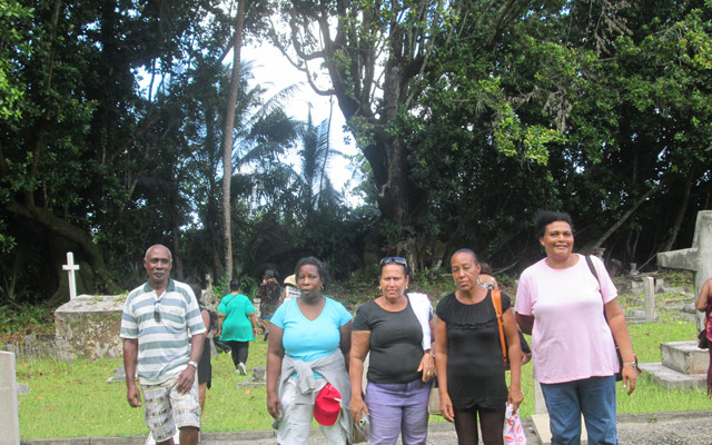 Chagossians living in the Seychelles on a rare visit back to Chagos