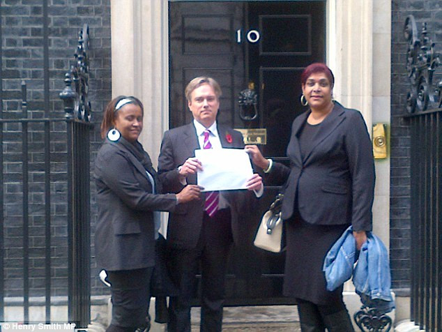 Chagossians lobbying the Prime Minister earlier this year
