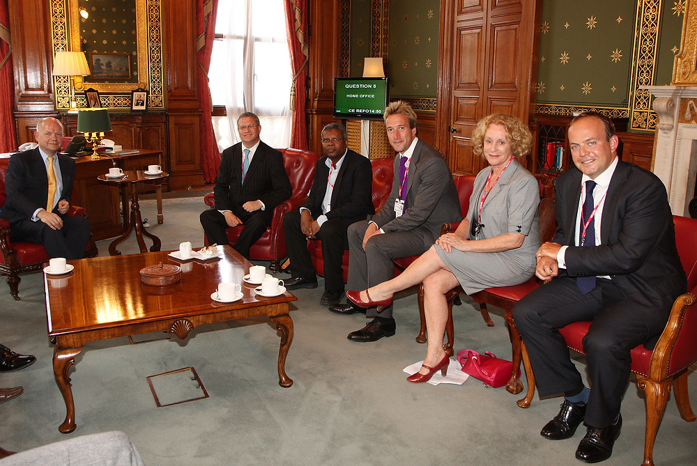 Our Patrons Ben Fogle and Philippa Gregory meetinf ex-Foreign Secretary William Hague with Chagossian Roch Evenor