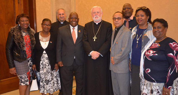 Secretary of State for the Holy See Paul Gallagher meeting with the Chagos Refugee Group delegation