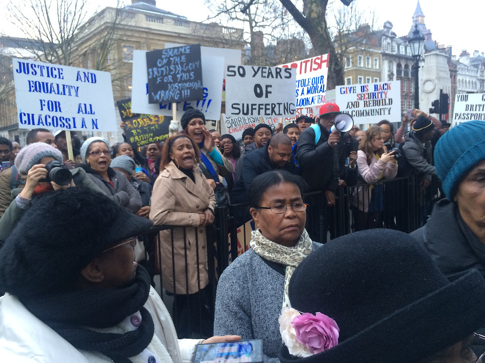 Chagossians protest at the gates of Downing Street