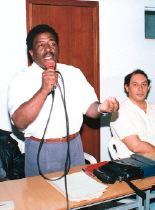 Fenand Mandarin, addressing a crowd in the 1990s