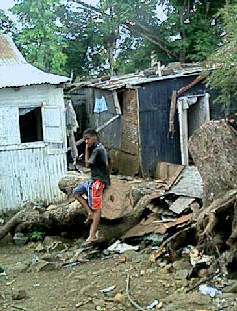 A slum in Mauritius where Chagossians lived after the deportation