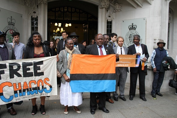 Chagossins protesting outside the Supreme Court in June 2016