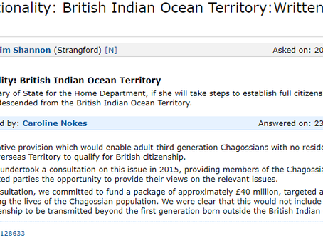 Chagos Citizenship raised again in Parliament