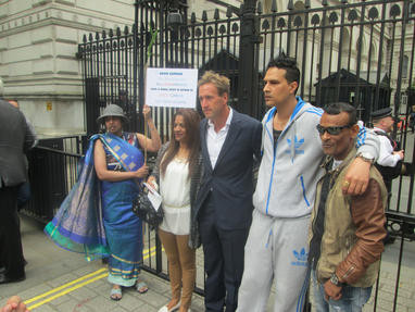UK Chagos Support Association Patron Ben Fogle a protest with Chagossians in 2015