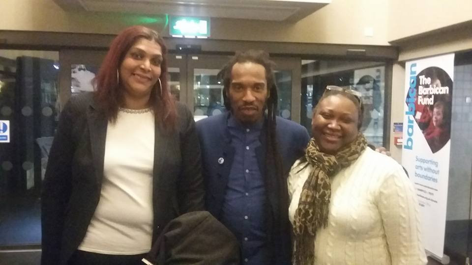 Three of the speakers of the evening: (From right to left) Chairperson of Chagossian Community Association Hengride Permal, Writer and UK Chagos Support Association Patron Benjamin Zephaniah and Chair of Chagos Refugee Group in the UK Sabrina Jean