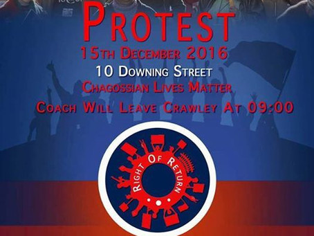 Chagossians to protest at 10 Downing Street Thursday 15 December