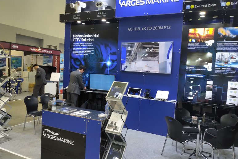Exhibition booth showcasing Arges Marine and Anywhere Networks Marine/Industrial CCTV Solution