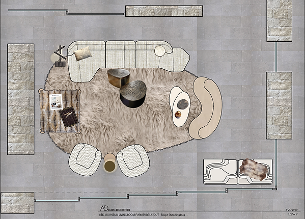 Red Mountain Living Room Furniture Layout - Taupe Shearling Rug