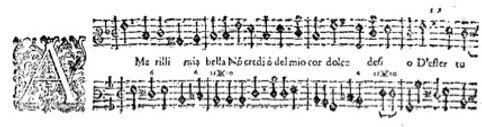 """Caccini manuscript, """"Amarilli, mia bella"""""""