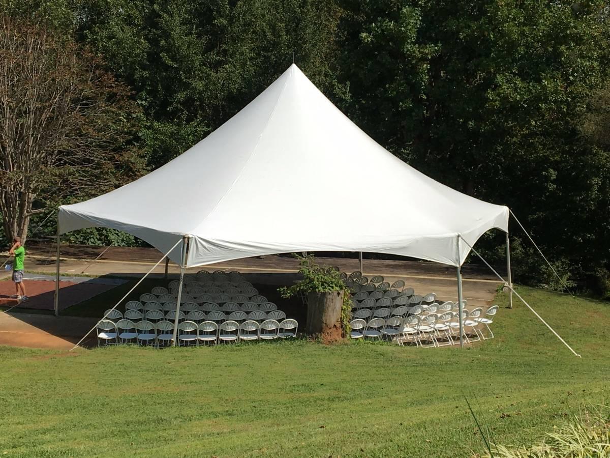 40' Hexagon High Peak Tent rentals - Wedding in Jasper