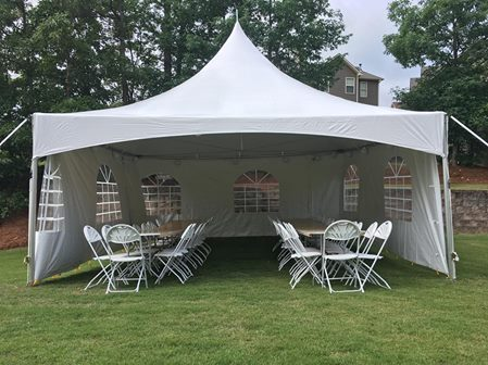 20' High Peak Tent Rentals with Sidewalls