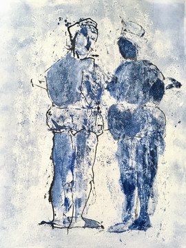 """Blue in two, 40X50"""""""