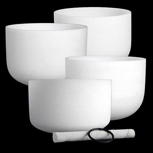 6/8/10/12 Inch 4 PCs White Crystal Singing Bowl Set