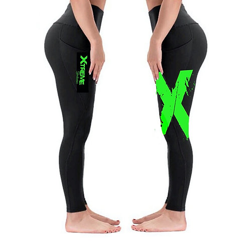 """""""Xtreme"""" Double Sided Leggings - Black/Lime Green X"""