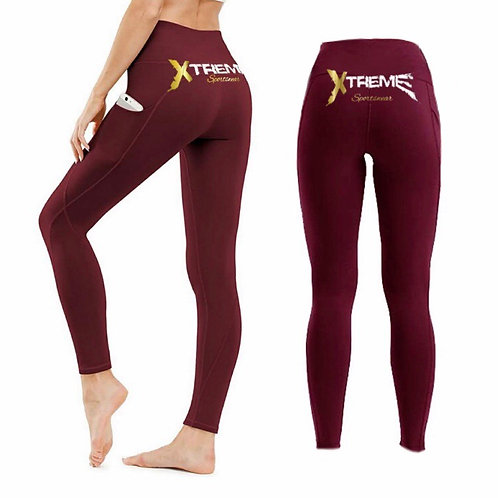 """Xtreme"" Burgundy Leggings"