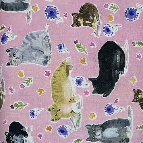 Watercolor style Cats with flowers on a Pink background