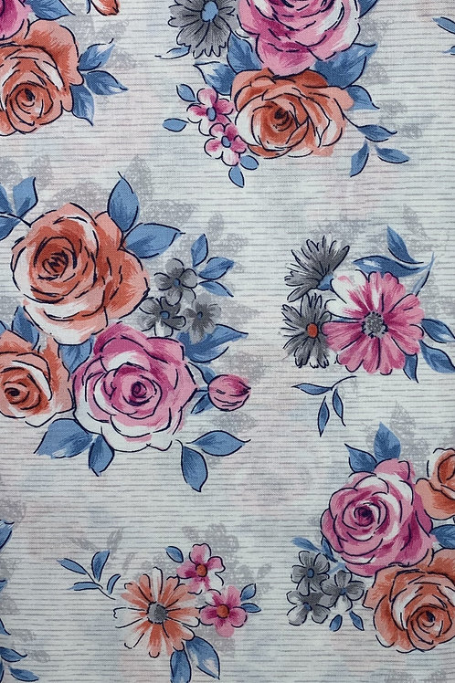 Beautiful watercolor flowers on white fabric