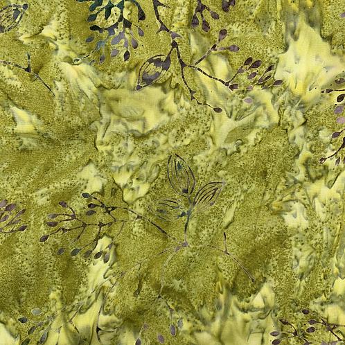 Green Floral Batik Fabric