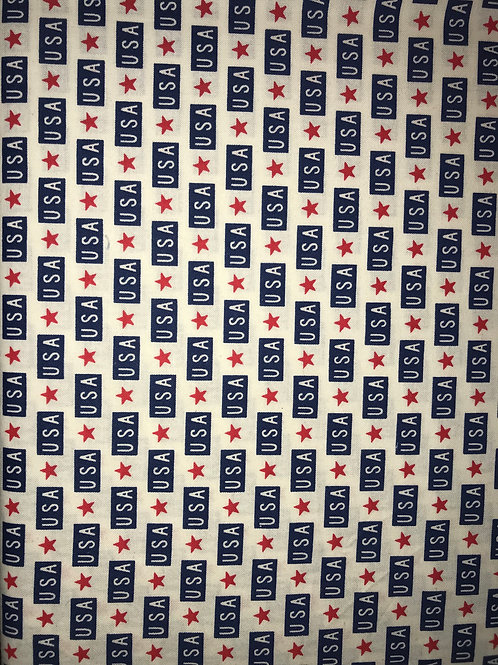 Navy U.S.A Red Stars On White Fabric