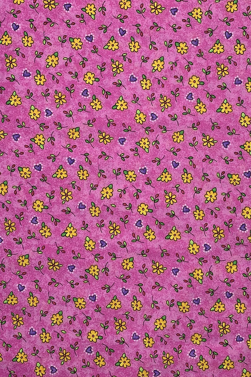 Multicolor Flowers on bright pink marbled background
