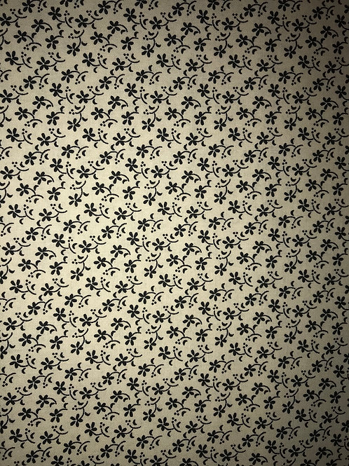 Small Black Floral Light Tan Fabric