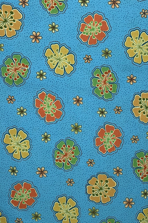 Multicolor flowers on blue background