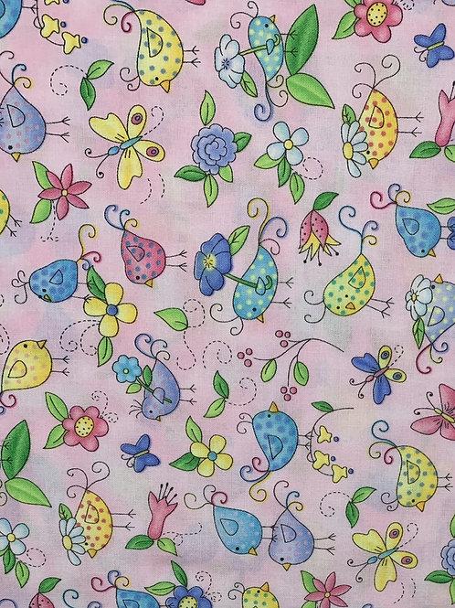 Birds, Butterflies and flowers on a light pink fabric