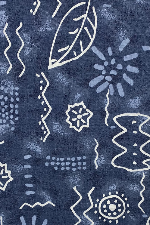 Blue and White Doodle Fabric