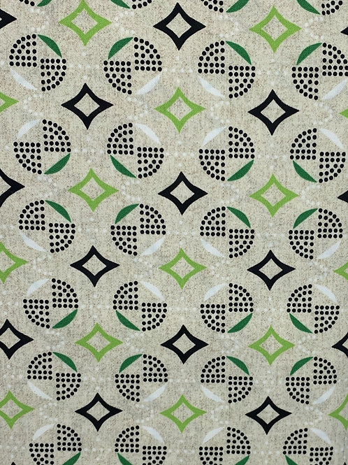 Green, Black and White Design on Tan Background
