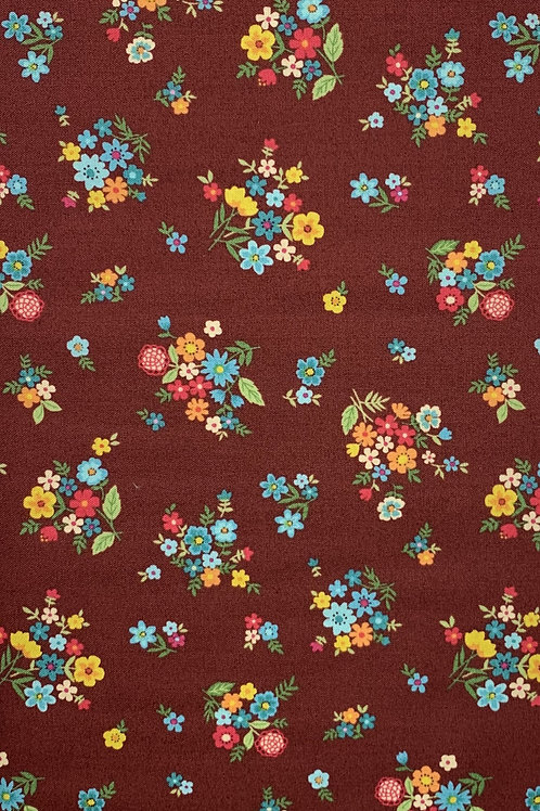 Multicolor Flowers on Dark Red Background