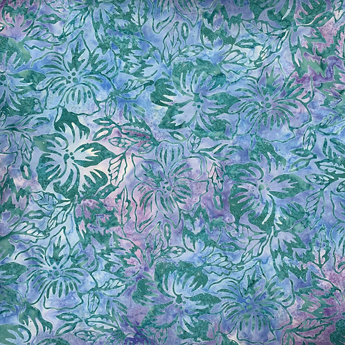 Blue and Purple Batik with Green Flowers
