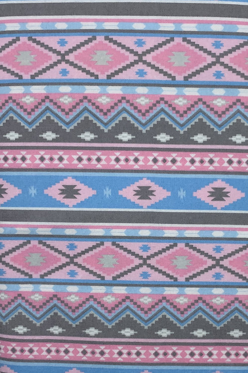 Pink and Blue Tribal Print