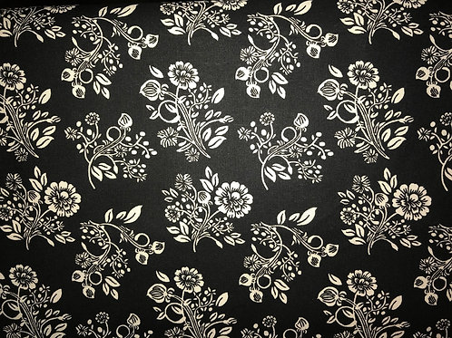 White Floral Black Fabric