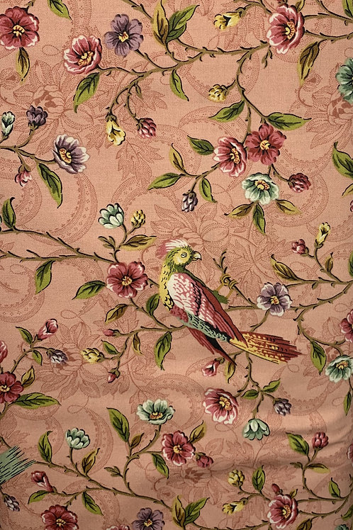 Birds and Floral Vines on Pink Background