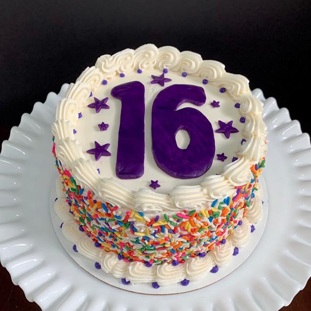Sweet 16 sprinkle birthday cake