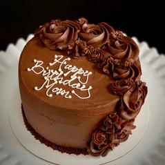 Chocolate rosette decorated cake