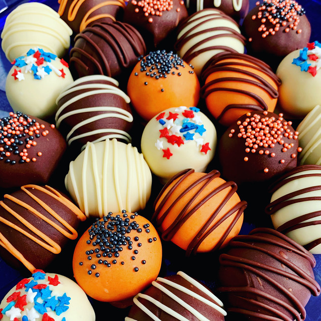 Halloween and get-out-the-vote cake ball truffles, buckeyes and cookie dough bites