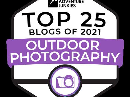 The Adventure Junkies nomme mon blog dans le Top 25 des blogs de photographie en plein air pour 2021