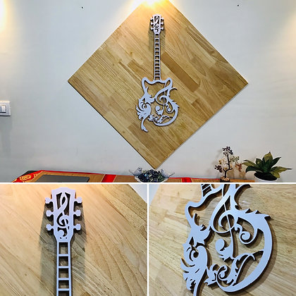 3D Musical Guitar WITH WOOD Background