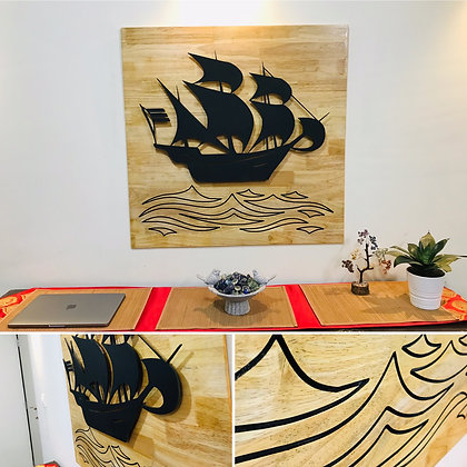 3D Ship WITH WOOD Background
