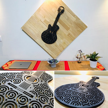 3D Guitar with WOOD Backgrounf