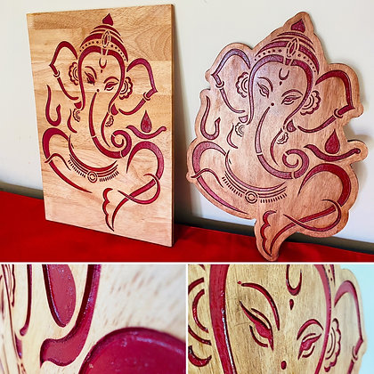 Engraved Ganpati - 1.5 feet x 1 foot x 12mm Solid Wood