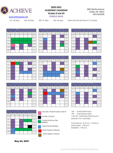 ACPA Grade 9 and 10 calendar Academic 20