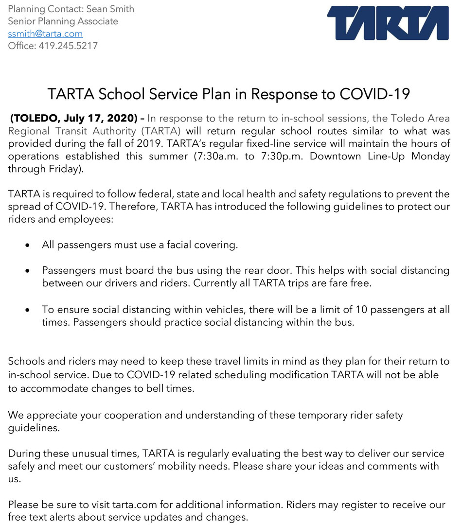 TARTA School Service Fall 2020 Announcem