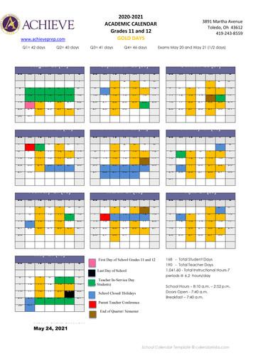 ACPA Grade 11 and 12 calendar Academic 2
