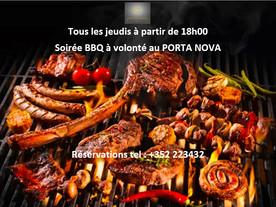 SOIRÉE BBQ A VOLONTÉ TOUS LES JEUDIS A PARTIR DE 18H00