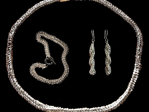 """QUAD CHAIN SET""- EARRINGS/NECKPIECE/BRACELET (925 SILVER/9K GOLD)"