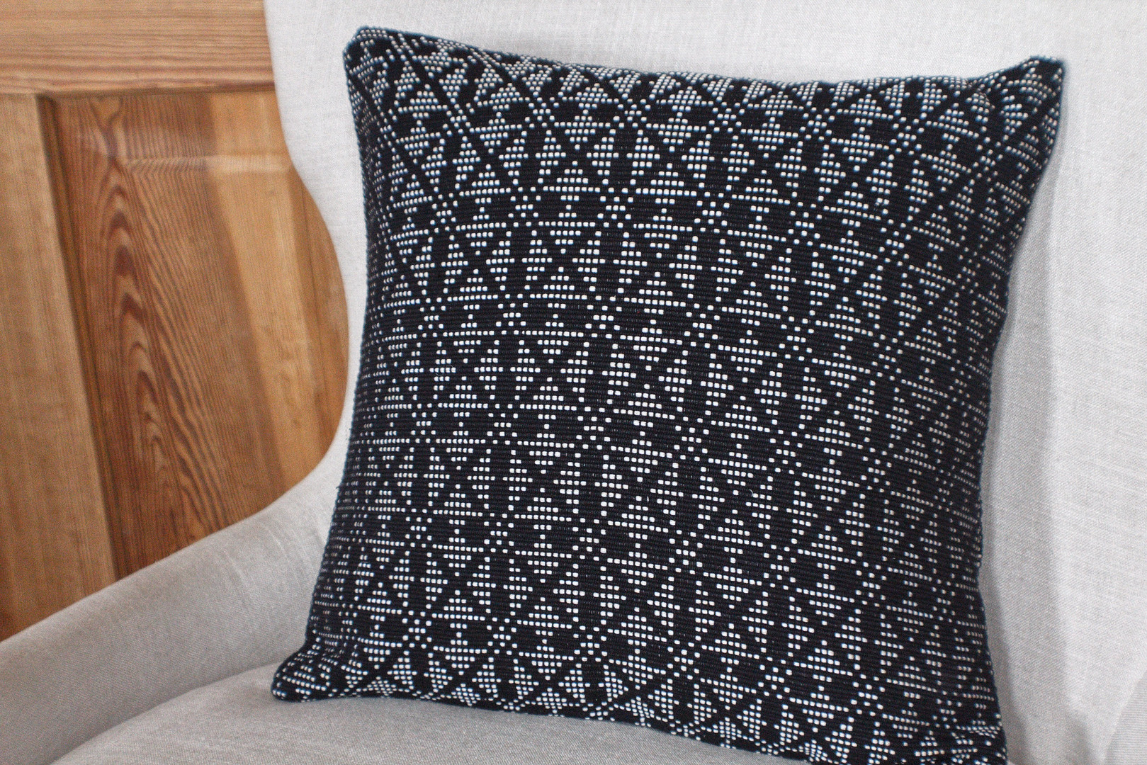 Black and white hand stitched pillow